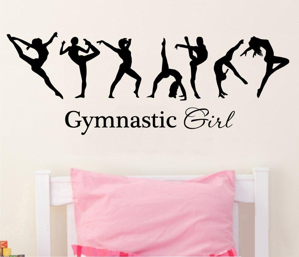 Nueva llegada bonita chica gimnasia bailarina dac bandera mural pared calcomanías cálido hogar dormitorio Art decó pegatinas de pared