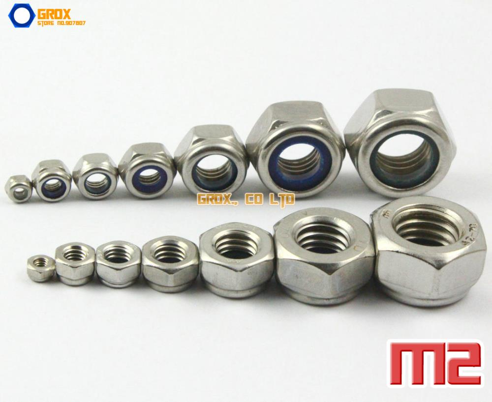 50 piezas M2 304 rosca métrica de acero inoxidable hexagonal tuerca de Nylon tuercas de bloqueo DIN985