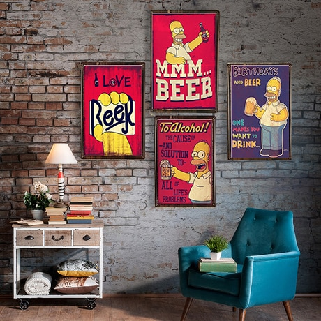 Bier Vintage Metall Zinn Hause Bar Club Pub Metall Haus Dekorative Metall Platten Bier Wand Aufkleber Simpsons Poster