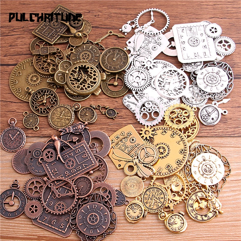 AliExpress - 10pcs Vintage Metal Zinc Alloy Mixed Four Clock Pendant Charms Steampunk Clock Charms for Diy Jewelry Making