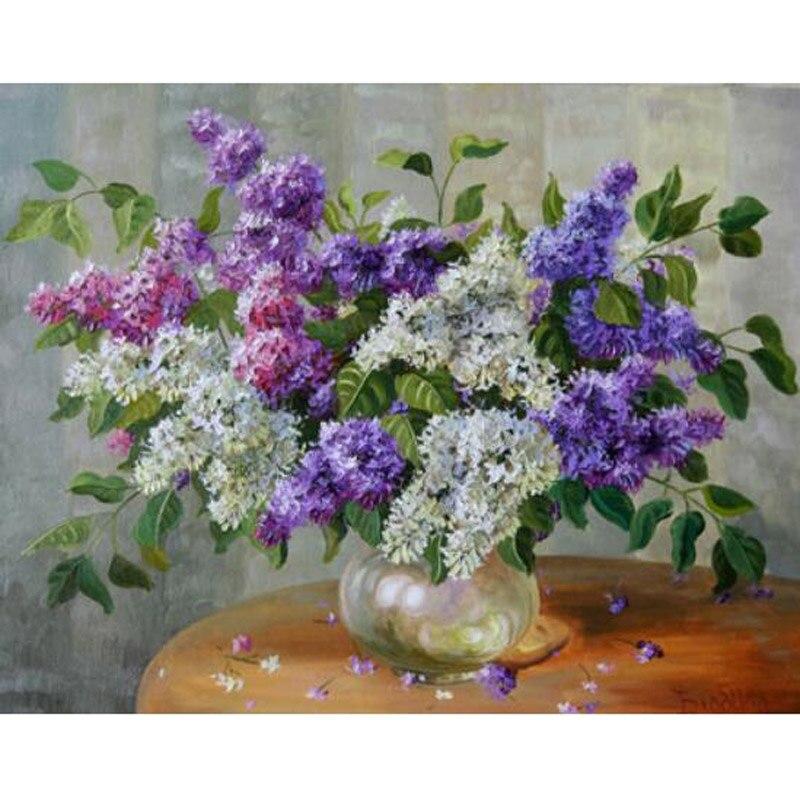 H1943 pintura de diamantes 5d, pintura de daimond cuadrado completo, bordado de diamantes flores púrpura