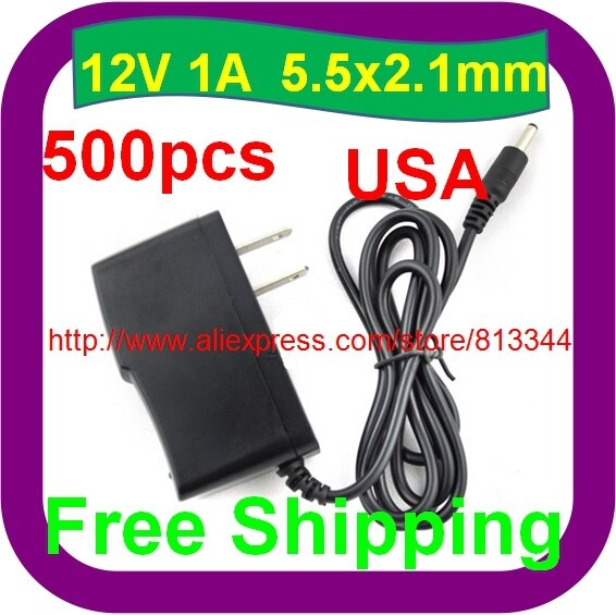500 pcs Free Shipping DC 12V 1A/1000mA USA PLUG Power Supply Adapter for CCTV Cameras Sky Netgear Routers