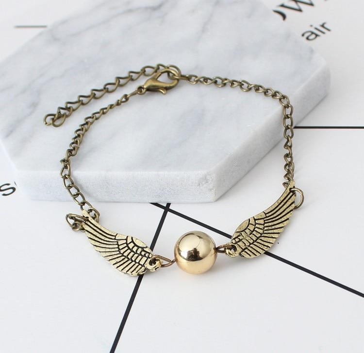 The New Quidditch Golden Snitch Pocket Bracelet Wings Vintage Retro Tone For Men And Women Wholesale Bracelet Punk