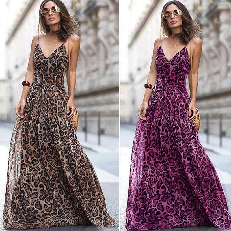2020 Vintage Leopard Print Maxi Dress Women Sexy V Neck Spaghetti Strap Summer Chiffon Beach Retro Long Dress Vestidos DG404
