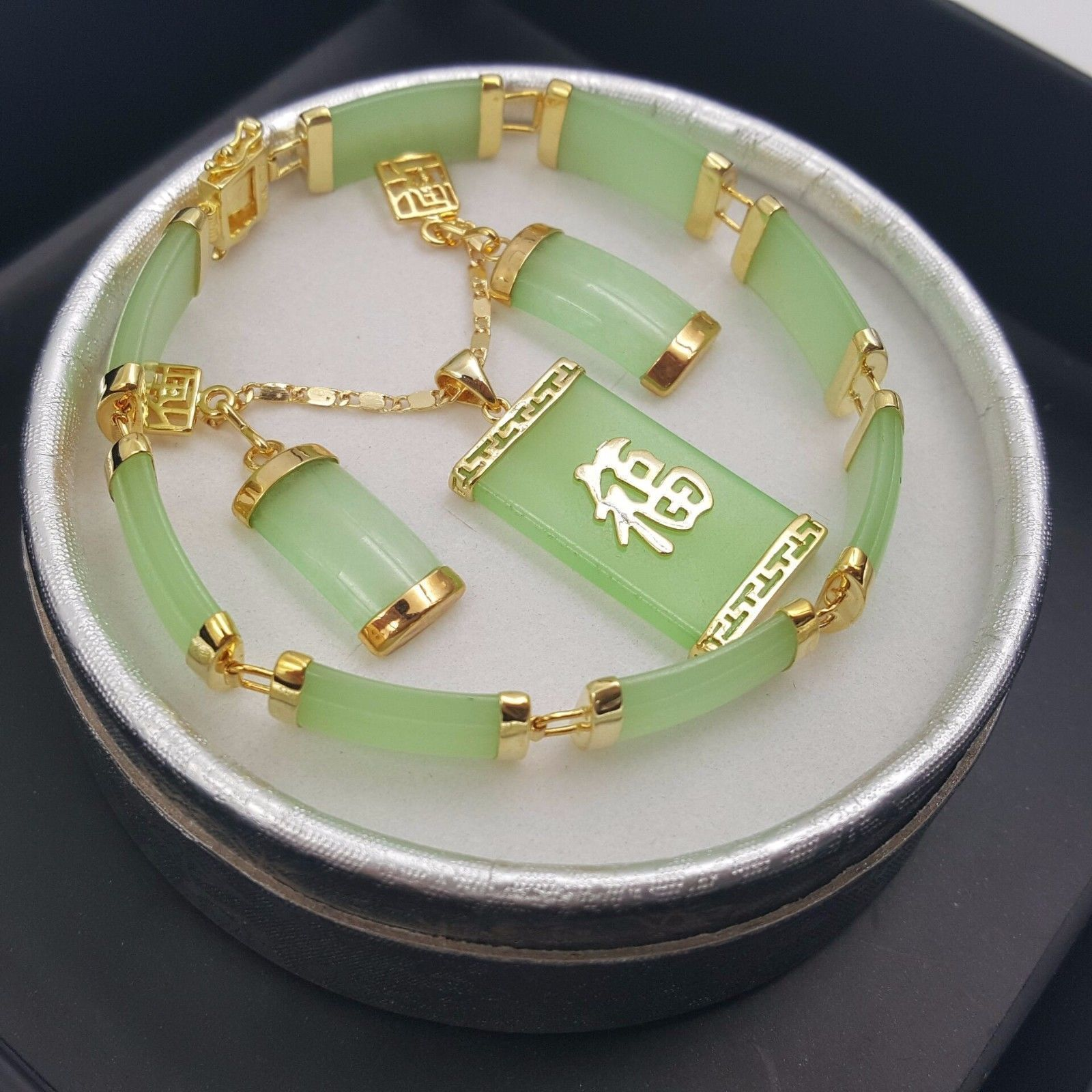 Natural Green Jade 18KGP Fortune Pendant Necklace Drop Earring Bracelet set