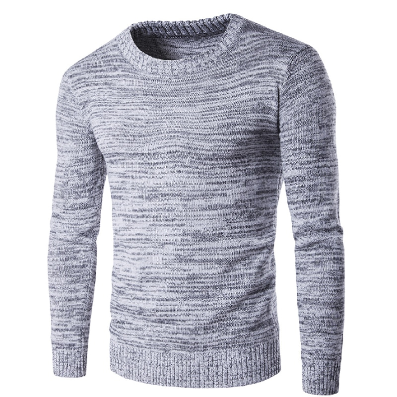 Novedad de 2018, jerséis de punto para hombre, suéter Casual de manga larga con cuello redondo, suéter de lana ajustado de talla grande, jerséis grises para hombre, suéter 2XL