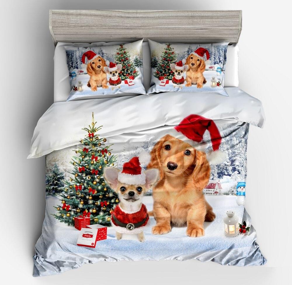 Funda nórdica de perro 3d de dibujos animados de moda, conjunto de perros con gorro rojo de Navidad, Bulldog Golden Retriever, juego de cama con funda de almohada