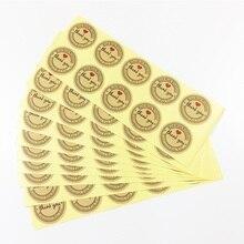 1000 pièces/lot merci Kraft étiquettes rondes autocollants à la main avec amour autocollants étiquettes papier Scrapbook joint adhésif étiquette