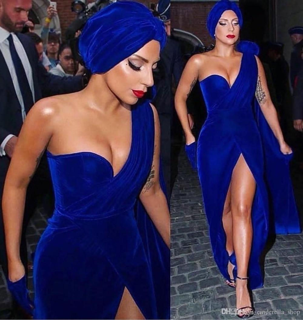 Royal Blau Abendkleider 2019 One Shoulder High Slit Bodenlangen Samt Formalen Prom kleid Roter Teppich Kleider robe de soiree