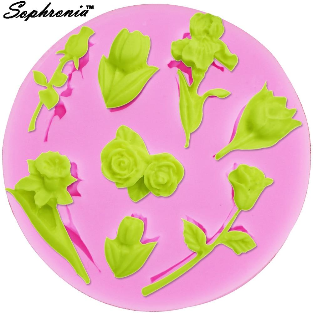 Sophronia 1 Uds. UV resina joyería líquida silicona molde 3D tulipán resina molde para hacer bricolaje joyería collar arte molde M319