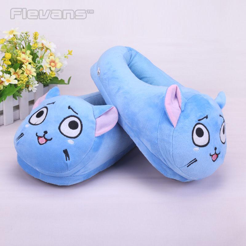 Anime dibujo de cuento Tail Happy Plush Toys muñecas mujeres/hombres zapatillas de felpa caseras zapatos de casa de invierno un par