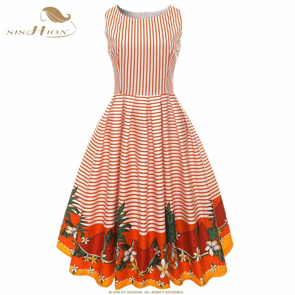 SISHION-vestido Floral elegante, mujer, sin mangas, de algodón, amarillo, naranja, azul marino, Falda plisada a rayas, Vintage, Retro, vestido VD0936