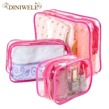 DINIWELL 3x Waterproof  PVC Travel Zipper Storage Bags Towel Makeup Pouch For cosmetics Underwear Organizer