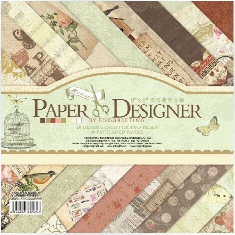 ENO Greeting Scrapbooking Craft Paper 8inch Vintage PAPER DESIGNER Scrapbooking Paper Set