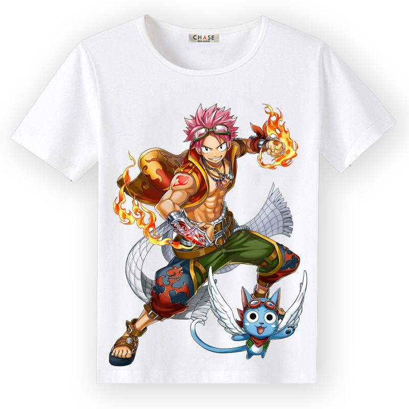 High-Q Unisex Anime porque cola de hadas Camiseta Tee T camisa Natsu Dragneel Lucy Heartfilia Erza escarlata Casual Tee camiseta T Shirt