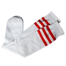 MACH 빨간색 줄무늬 흰색 튜브 양말 스포츠/운동/축구/축구 상단 무릎.
