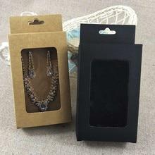Kraft hangend card & hang venster doos kraft/zwart/wit 13x8x3 cm (5.11x3.149x1.18 ) gifg box kraft venster doos iphone case