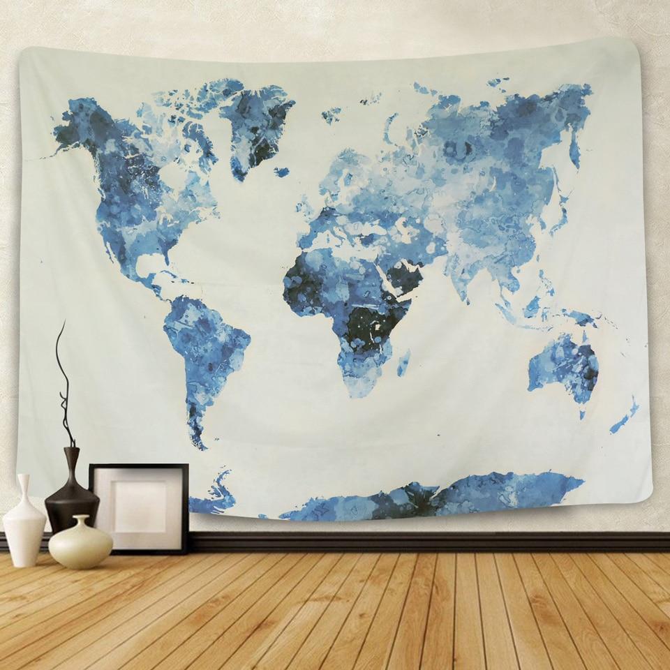 Papel tapiz de mapa del mundo azul y blanco, decoración colgante de pared para dormitorio, Hippie, psicodélica decorativa, tapiz de pared, toalla grande de playa