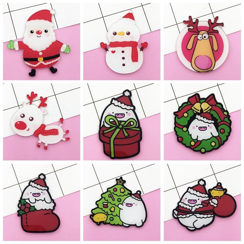 2019 Christmas set Plant Santa Claus Elk christmas tree Brooch Button Pins Denim Jacket Lapel Pin Badge Snowman Gift for Kids