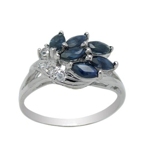 Anillos Qi xuan_piedra azul oscuro elegante Ring_Fashion Ring_S925 sólido plateado azul oscuro Anillos de piedra directamente de venta del fabricante