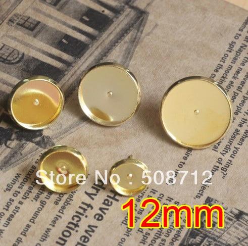 Free shipping!!! EP087 500sets 12mm  Stud Earring Blanks Base Tray Bezel Cameo Setting Post Bullet Stopper Back