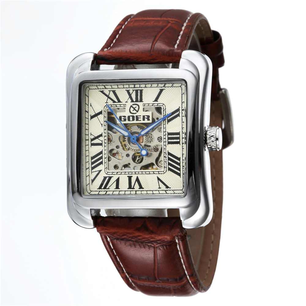 Top Brand Luxury Square Automatic Mechanical Skeleton Watches PU Leather Fashion Casual Men Watches