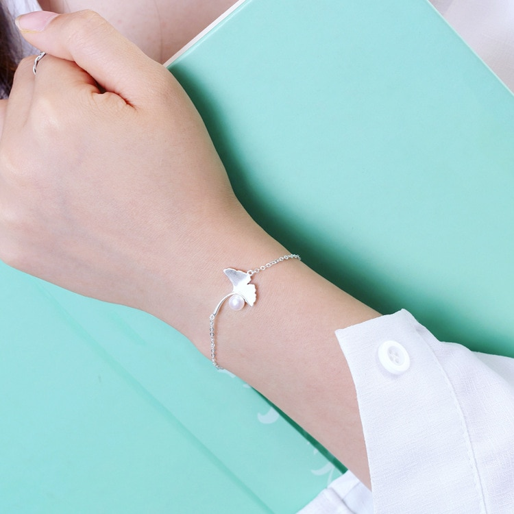 Daisies Pure 925 Sterling Silver Ginkgo Biloba Leaves Bracelet for Women Female Elegant Pearl Bracelet Statement Jewelry