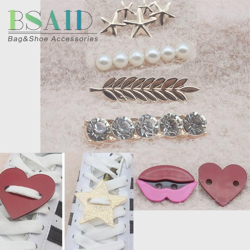 BSAID 1 Pair Shoelaces Decoration Women Shoe Buckle Crystal Star Smile Cartoon Pearl Shoe Decoration Kid Adult Shoes Accessories