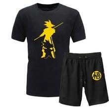 2019 New Summer Dragon Ball Z Goku 2piece T-shirts+Shorts O-Neck Short sleeve Tshirt casual Vegeta Harajuku brand clothing