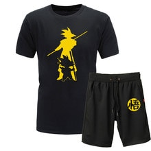 2019 yeni yaz dragon topu Z Goku 2 adet t-shirt + şort o-boyun kısa kollu tişört rahat Vegeta Harajuku marka giyim