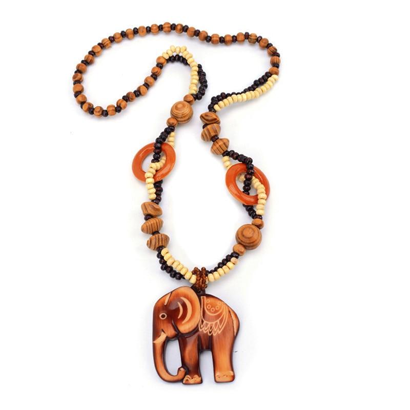 Boho jóias estilo étnico longo feito à mão grânulo de madeira elefante pingente colar para mulher preço decente