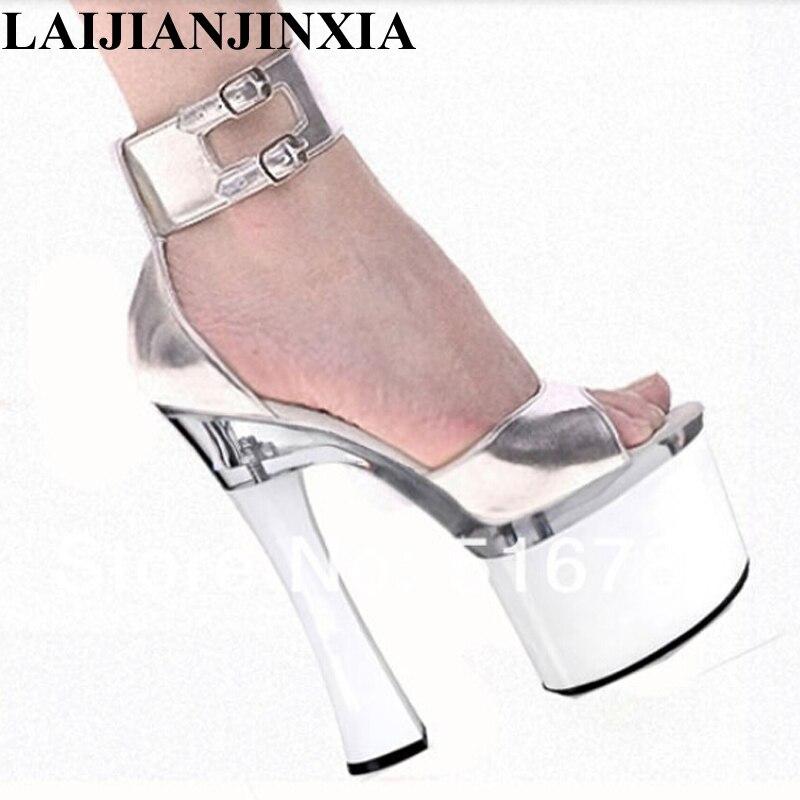 LAIJIANJINXIA no convencionales de tacón alto sandalias con cubierta para talón zapatos de plataforma Sexy zapatos de baile de barra 18 cm zapatos de baile zapatos F-061
