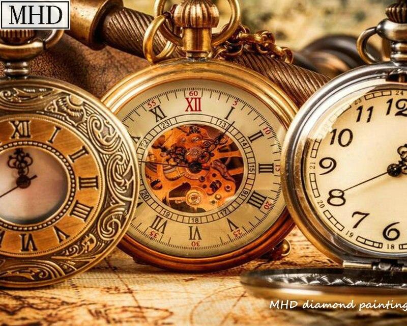 Relógio de bolso padrão de broca praça cheia 5D kit pintura diamante DIY diamante mosaico bordado 20x25 cm de decoração para casa presente