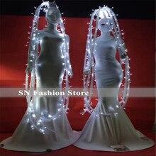 Costumes à poils lumineux led blancs BC27   Vêtements de scène pour ballroom danse dj, vêtements de spectacle, robe de soirée, de noël, tissu lumineux