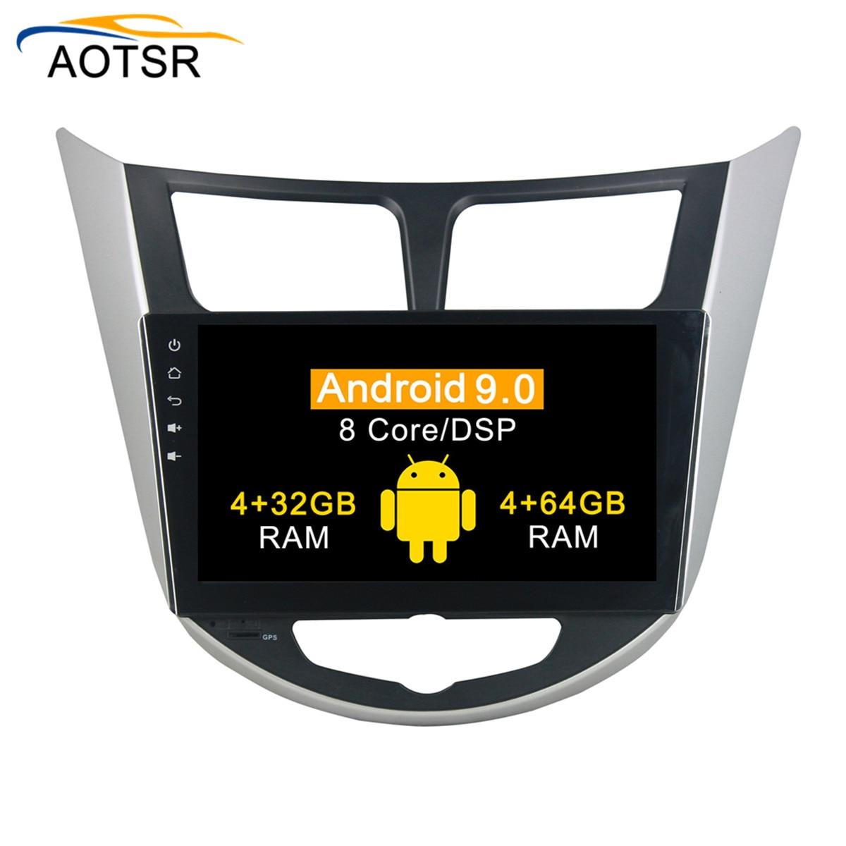 DSP 4G + 64G Android 9,0 reproductor de dvd del coche para hyundai Verna/acento/Solaris 2011-2012 navegación GPS Auto de Video de Radio de la unidad