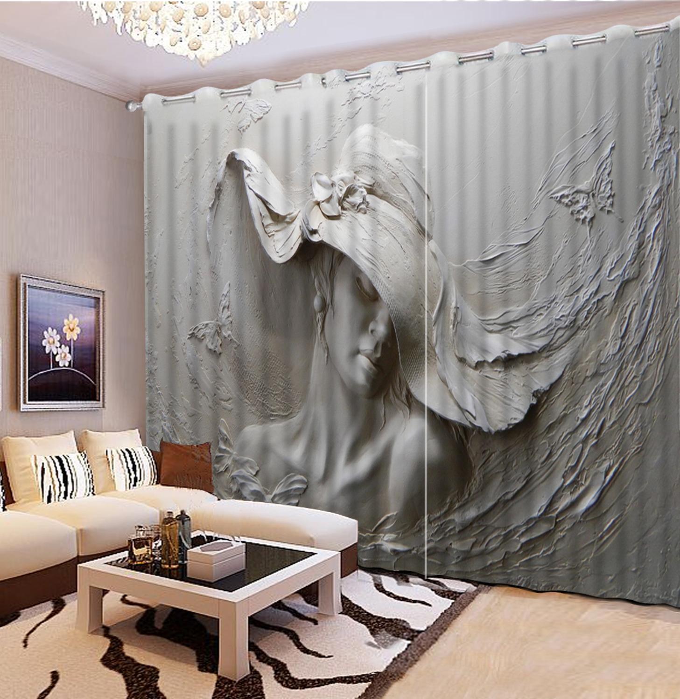 Relieve belleza 3D cortina impresa tridimensional relieve cabeza 3D baño ducha cortina 3D cortina opaca cortinas personalizadas