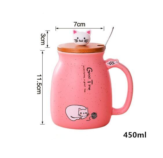450ml Cartoon Ceramics Cat Mug With Lid and Spoon Coffee Milk Tea Mugs Breakfast Cup Drinkware Novelty Gifts