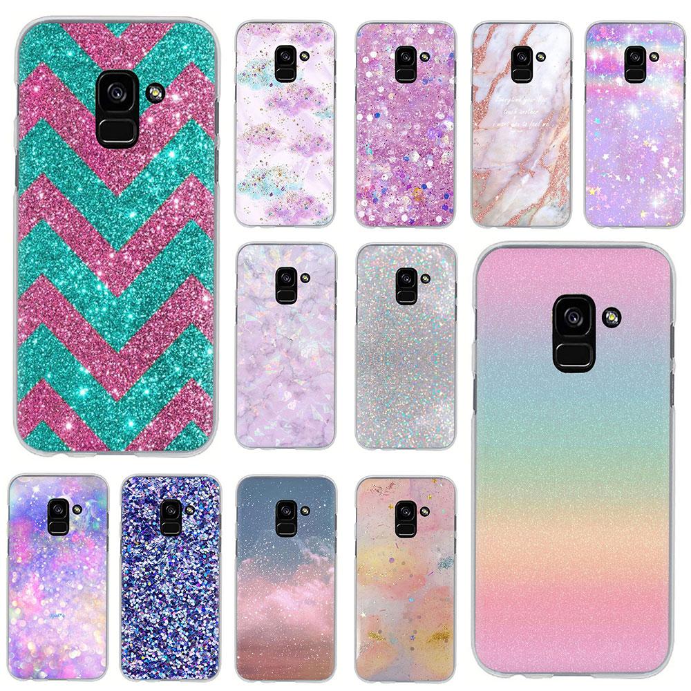 Funda rígida para teléfono Samsung Galaxy A6 plus, 7, 8, 9, 2018, A10S, 20S, 20E, 30S, 40S, 50S, 60, 70S, con estampado de purpurina dorada y rosa