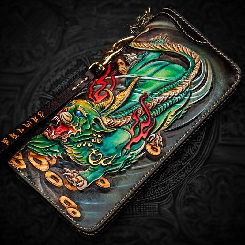 Personal Tailor Men Genuine Leather Wallets Carving Brave Troops Bag Purses Women Clutch Vegetable Tanned Leather Wallet