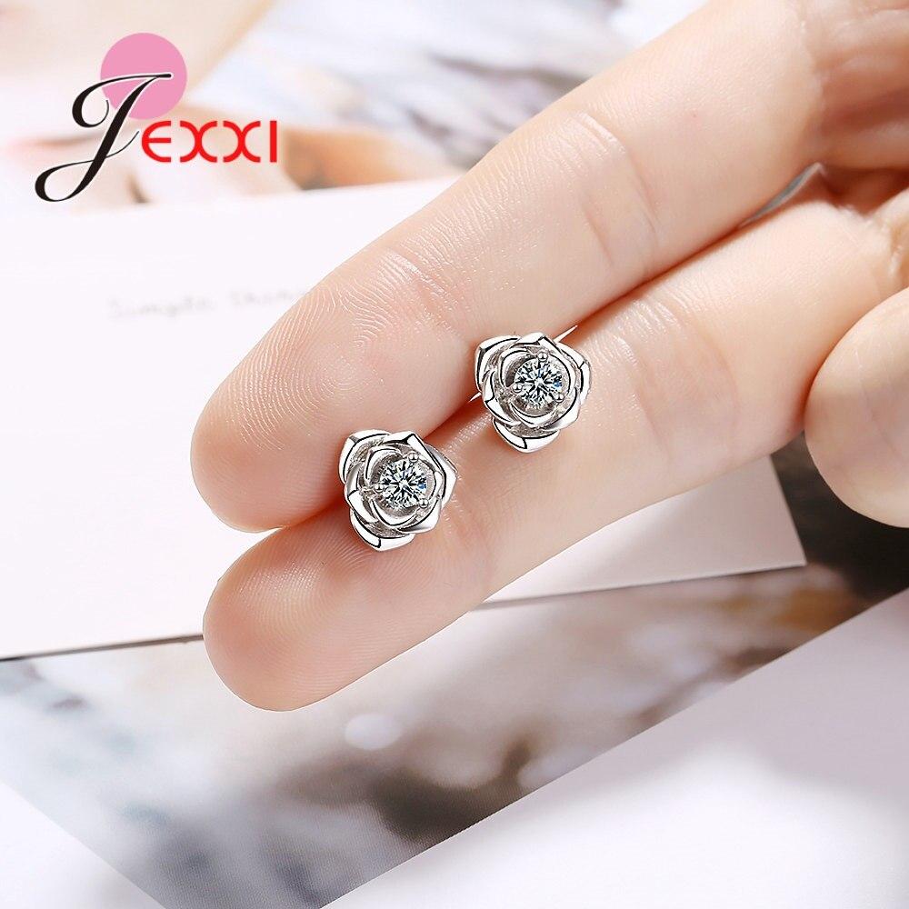 Новый-Модный-Блестящий-Кристалл-серьги-пусеты-с-розой-925-пробы-серебряные-кубические-циркониевые-украшения-для-женщин-и-девочек