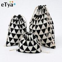 ETya femmes coton réutilisable sac à provisions pliable sacs à provisions fourre-tout voyage cordon emballage organisateur Shopper recycler sacs