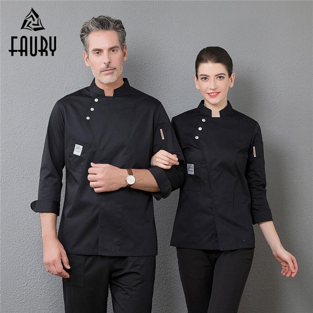 Uniforme de Chef de restaurante profesional de manga larga para hombre Master chaqueta de cocinero cocina panadería café Hotel camarero monos