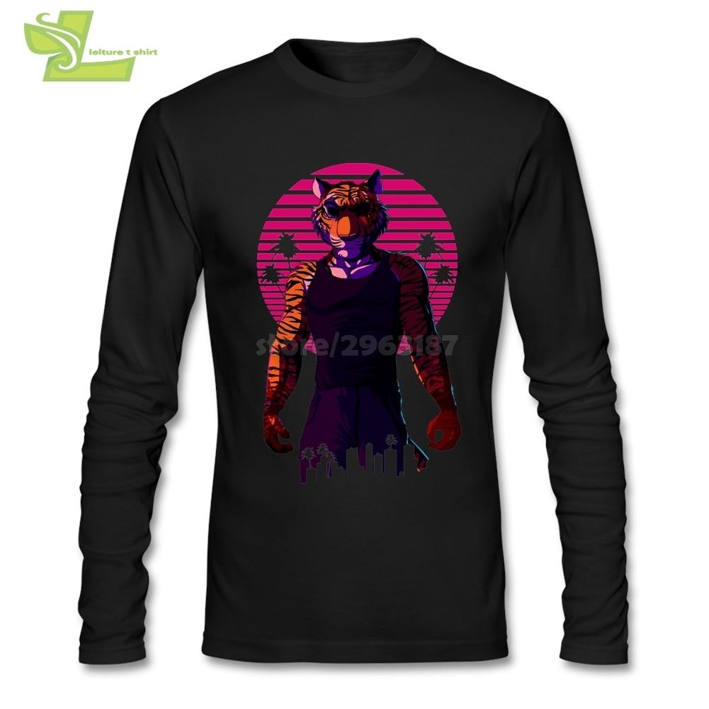 Camiseta con el mejor diseño para hombre, Camiseta de algodón de manga larga con cuello redondo Miami y diseño de tigre Animal de medianoche para hombre, talla asiática