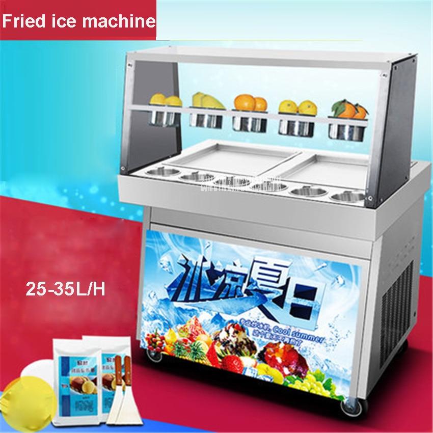 CBJ-05 220 V/50Hz doble olla de comercial olla helado frito máquina de yogur, fritos de hielo máquina de hielo 25-35L/H de producción