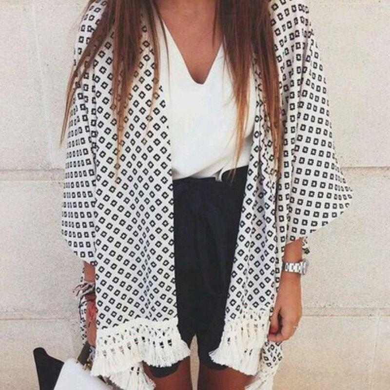Xadrez preto Impresso Mulheres Camisa Cardigan Curto Branco Borla Kimono Elegante Office Lady Capes Ponchos de Malha Casual Tops Brasão
