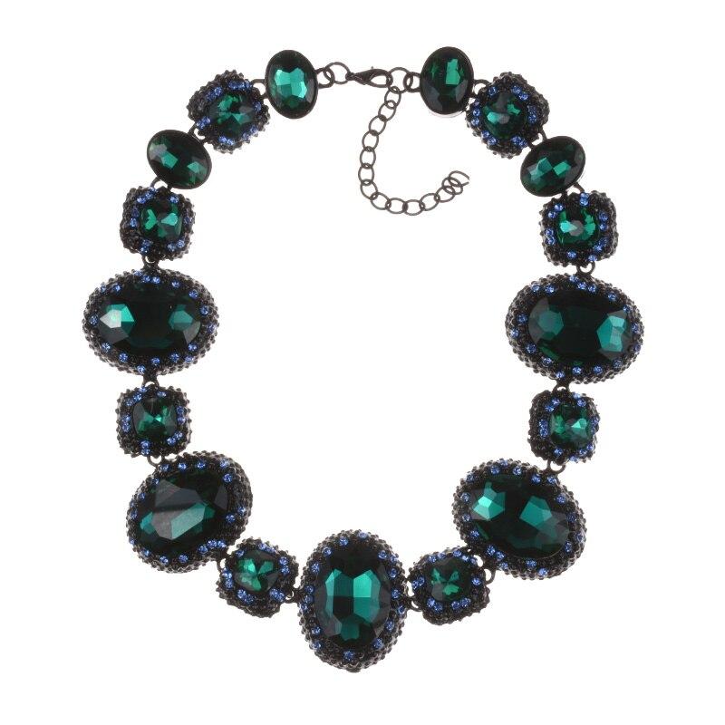 Gran oferta de Estados Unidos, collar de declaración de cristal brillante con diseño geométrico, gargantillas de Metal negro Vintage en capas