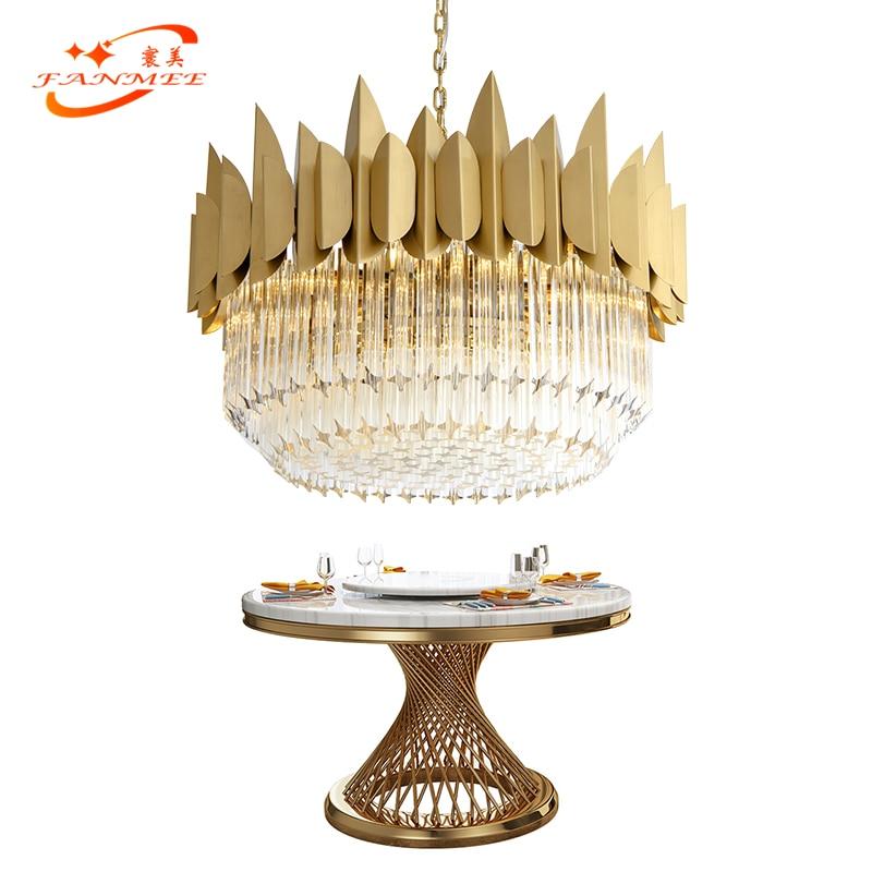 Lustre en cristal de verre moderne, éclairage de luxe, lampe à suspendre, éclairage de Chandelier de salon contemporain