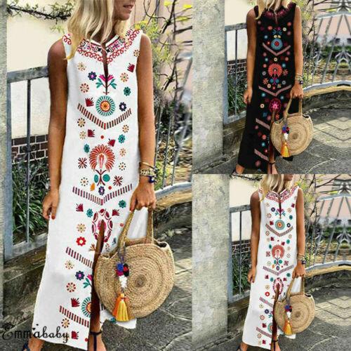 Stylish Plus Size Women Sleeveless Boho Casual Natural Waist Slit Linen Loose Dress Ladies Long Dresses 2 Designs S-XXXXXL