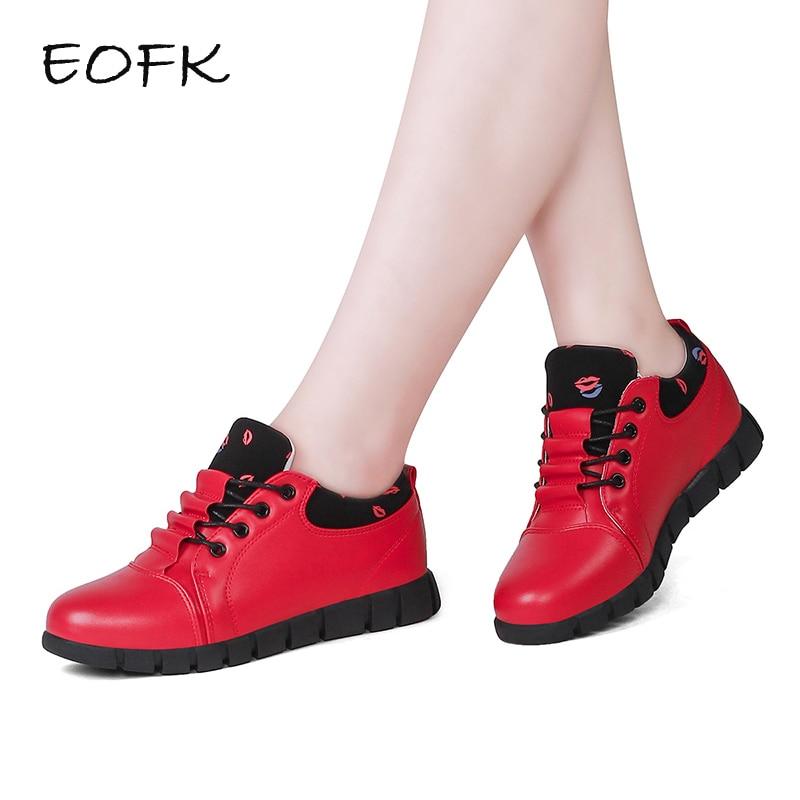 EOFK/сезон весна-осень; Женская кожаная обувь на плоской подошве; Zapatillas Mujer; Повседневные кроссовки; Женские туфли; Удобные женские красные туф...