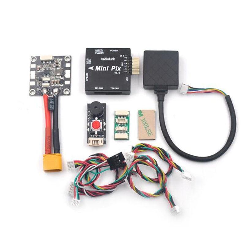 RadioLink m8n TS100 MINI PIX GPS+MINI  Flight Control+BB Buzzer w/ LED +Power Module FC Kit Fr RC FPV Racing Drone Quadcopter